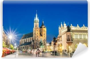 Afwasbaar Fotobehang Rynek Glowny - Het centrale plein van Krakau in Polen