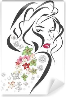 Afwasbaar Fotobehang Silhouet van de vrouw met bloemen
