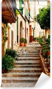Afwasbaar Fotobehang Straat in Valldemossa dorp in Mallorca