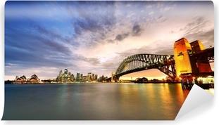 Afwasbaar Fotobehang Sydney Harbor Panorama bij schemering