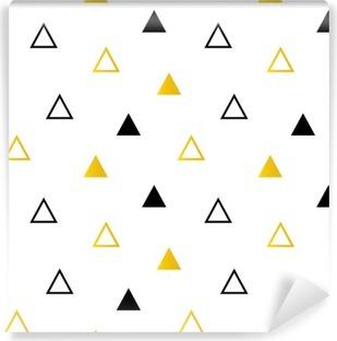 Afwasbaar Fotobehang Trendy zwarte en gouden driehoeken op witte naadloze patroon achtergrond.