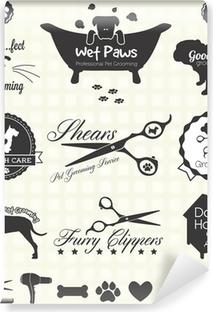 Afwasbaar Fotobehang Vector Set: Pet Grooming Labels