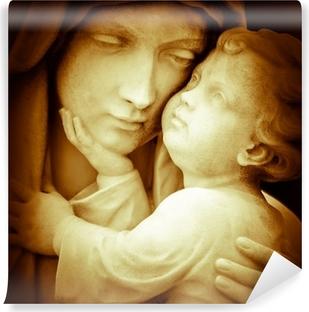 Afwasbaar Fotobehang Vintage beeld van de maagd Maria dragende baby Jezus