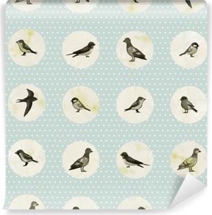 Afwasbaar Fotobehang Vintage naadloze patroon met leuke kleine vogels. Vector naadloze textuur voor achtergronden, patroonvullingen, webpagina achtergronden