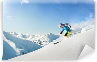 Afwasbaar Fotobehang Vrouw freeride skiër
