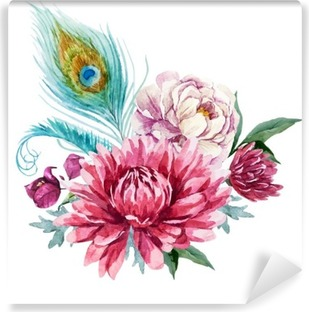 Afwasbaar Fotobehang Watercolor bloemen compositie
