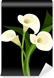 Afwasbaar Fotobehang Witte calla lelies op zwart. Vector illustratie.