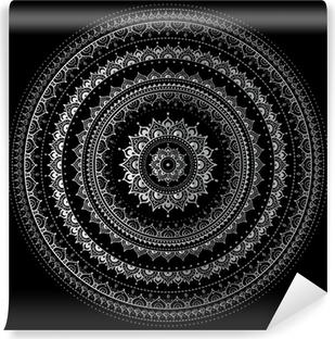 Afwasbaar Fotobehang Zilveren mandala