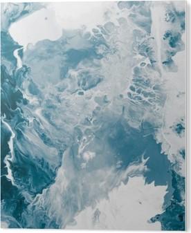 Blå marmor tekstur. Akryl Tryk