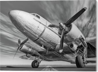 Historisk flyvemaskine på en rullebane Akryl Tryk