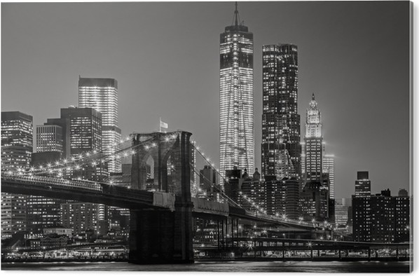 Akrylbilde New York om natten. Brooklyn Bridge, Lower Manhattan - Black an -