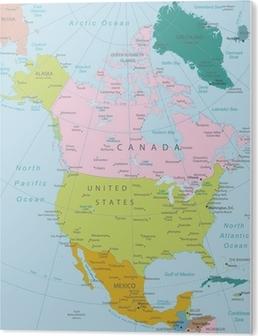 Pixerstick Klistremerke Nord Amerika Hoyt Detaljert Kart