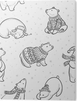 54a47ef2 Lerretsbilde Svart og hvitt håndtegnet isbjørn sømløs mønster. • Pixers® - Vi  lever for forandring