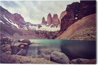 Akrylbilde Torres del Paine nasjonalpark, farge tonet bilde, Patagonia, Chile.