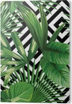 9e231815 Akrylbilde Tropisk palmeblader mønster, geometrisk bakgrunn