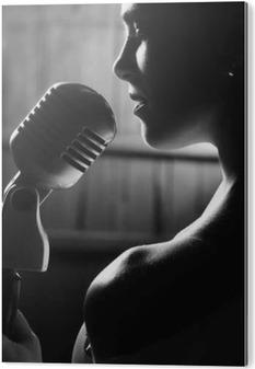 Akryltavla Sensuell kvinna med mikrofon