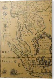 Antiikin Thaimaan Kartta Xvii Luvulta Kangaskuva Pixers