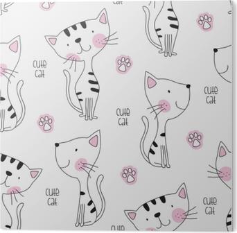 Saumaton söpö kissa kuvio vektori kuva Akryylitaulu