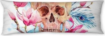 Almohada larga Acuarela cráneo humano y flores rosadas magnolia