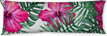 Almohada larga Acuarela flor de la orquídea y hojas de palma de patrones sin fisuras. ilustración vectorial