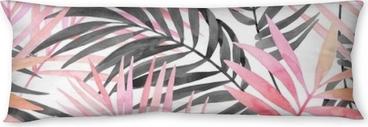 Almohada larga Acuarela rosa coloreada y gráfica pintura de hoja de palma.