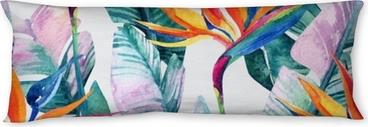 Almohada larga Acuarela tropical de patrones sin fisuras con la flor de ave del paraíso.