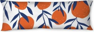 Almohada larga Modelo inconsútil tropical con naranjas rojas. Fruta repetida de fondo. Vector brillante de impresión para tela o papel tapiz.