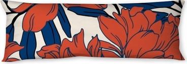 Almohada larga Patrón de elegancia abstracta con fondo floral.