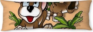 Almohada larga Puppy Dogs - ilustración de fondo de dibujos animados