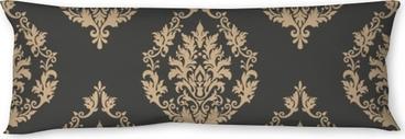 Almohada larga Vector damasco sin fisuras de fondo. ornamento clásico antiguo damasco de lujo, textura transparente victorian real para fondos de pantalla, textil, embalaje. exquisita plantilla floral barroca