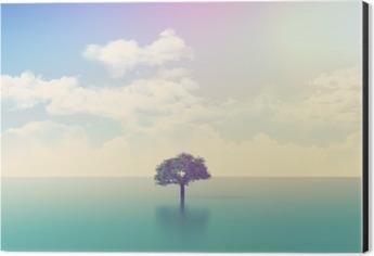 3D ocean scene with tree with retro effect Aluminium Print (Dibond)