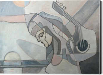 Abstract Painting With Woman and Guitar Aluminium Print (Dibond)