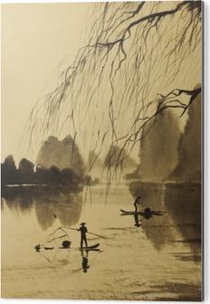 Asian mountains and lake Aluminium Print (Dibond)
