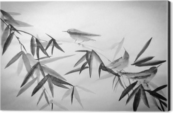 bamboo and three birdies branch Aluminium Print (Dibond)