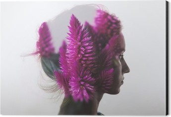 Creative double exposure with portrait of young girl and flowers Aluminium Print (Dibond)