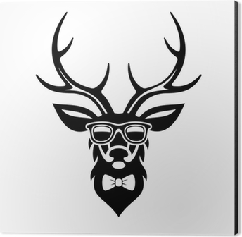Deer Dressed Up In Hipster Style Simple Logo Design Vector Poster Pixers We Live To Change
