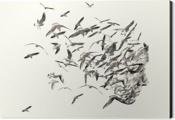 Double exposure portrait of young women and seagulls. Aluminium Print (Dibond)