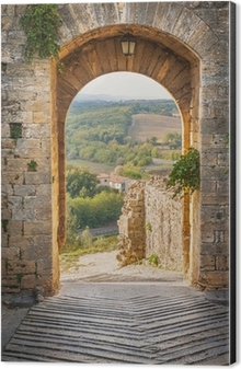 Exit the town of Monteriggioni with views of the Tuscan landscap Aluminium Print (Dibond) & italian yard in tuscan village Wall Mural \u2022 Pixers® \u2022 We live to ...
