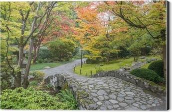 Fall Foliage Stone Bridge Japanese Garden Aluminium Print Dibond