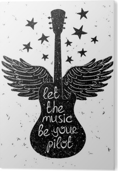 Hand drawn musical illustration with silhouettes of guitar. Aluminium Print (Dibond)