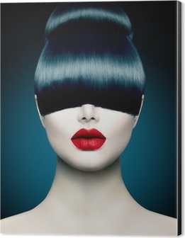 High Fashion Model Girl Portrait with Trendy Fringe Aluminium Print (Dibond)