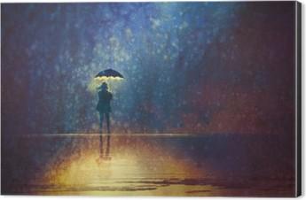 lonely woman under umbrella lights in the dark,digital painting Aluminium Print (Dibond)