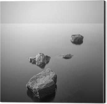 Minimalist misty landscape. Black and white. Aluminium Print (Dibond)