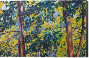 Oil painting landscape on canvas - autumn trees Aluminium Print (Dibond)