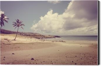 Palm trees on Anakena beach, easter island Aluminium Print (Dibond)
