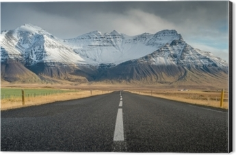 Perspective road with snow mountain range background in cloudy day autumn season Iceland Aluminium Print (Dibond)