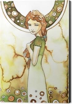 piękna dziewczyna w zielonej secesji Aluminium Print (Dibond)