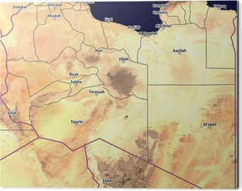 Satellite Map Of Libya With Cities And Province Outlines Poster
