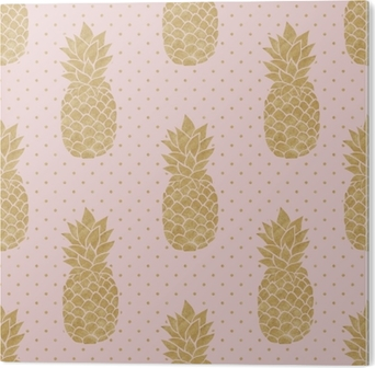 Seamless Pattern With Gold Pineapples On Polka Dot Background Pink And Pineapple Summer Tropical Sticker O PixersR We Live To