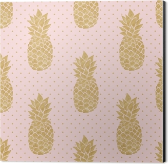 Seamless Pattern With Gold Pineapples On Polka Dot Background Pink And Pineapple Summer Tropical Shower Curtain O PixersR We